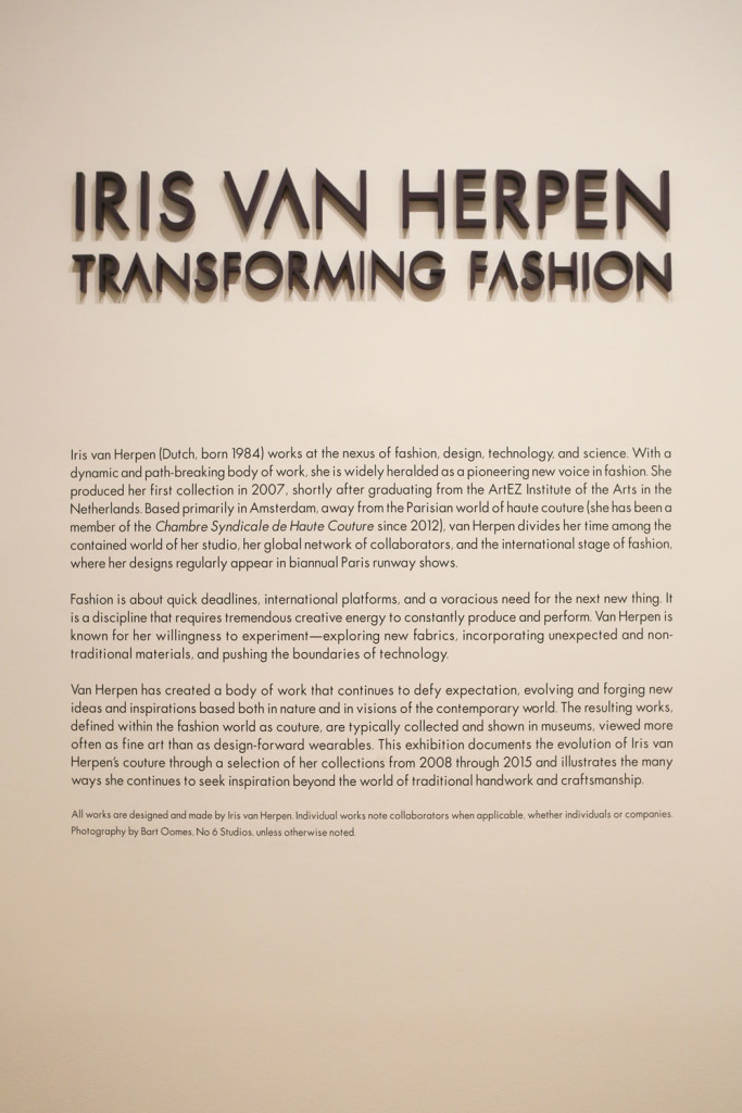 """Iris Van Herpen: Transforming Fashion"" wall text. Click to enlarge. (photo: CatMax Photography)"