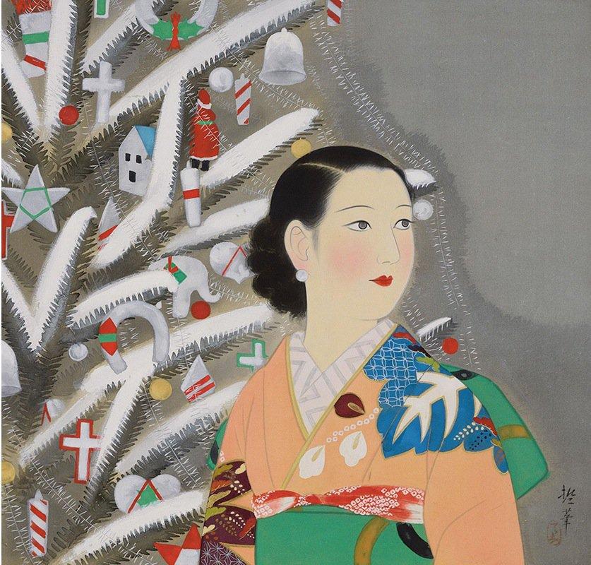 a rebel in prada, michelle crosland, fashion blog, atlanta fashion blog, museum of art boston, mfa boston, katsuda tetsu, woman standing next to christmas tree, new women for a new age, japanese beauties, japanese art